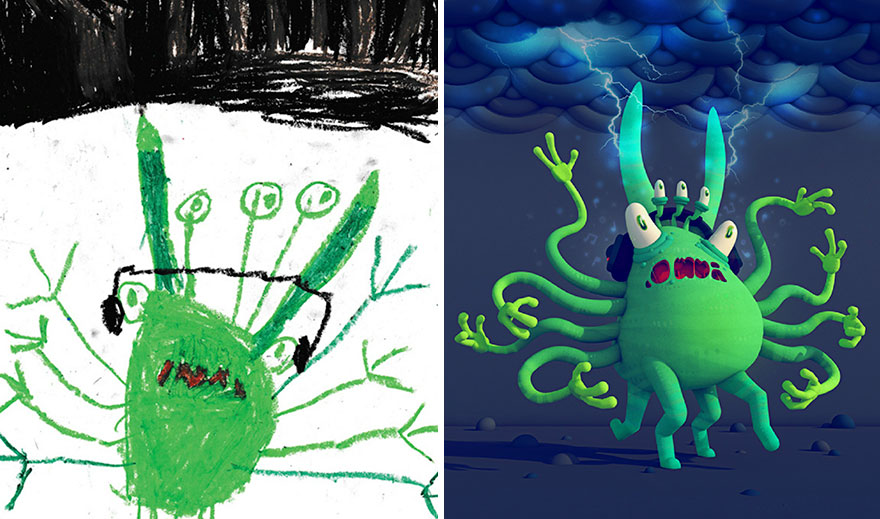 Professional Artists Recreate Kids' Monster Doodles In Their Own Style