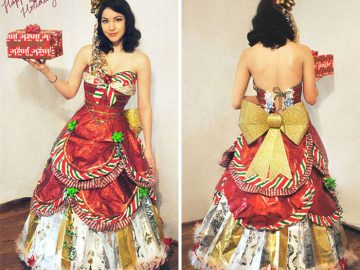 Woman Has Been Making Dresses From Wrapping Paper For a Few Years Now After The Holiday Season Gets Over