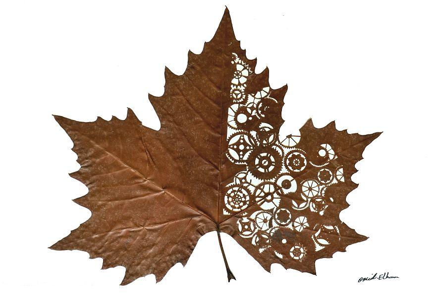 Artist Creates Leaf Art By Carefully Cutting Intricate Scenes