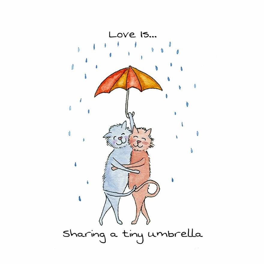 Artist Draws Adorable Animal Illustrations That Display The Little Ways We Show Love