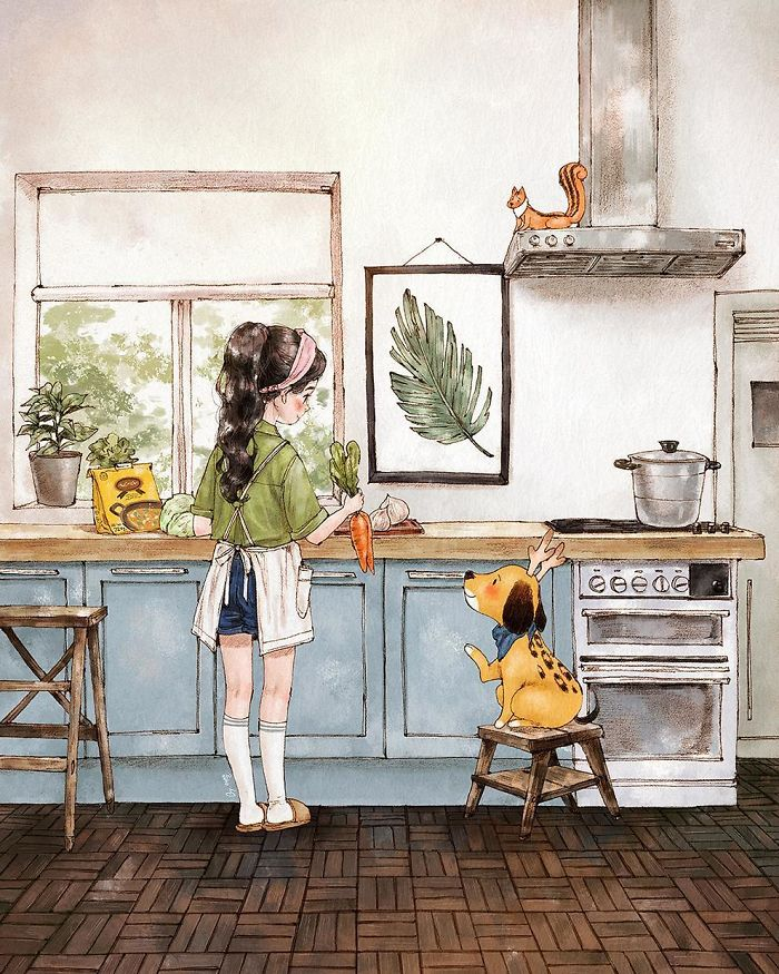 Korean Artist Shows What Happiness In Living Alone Looks Like