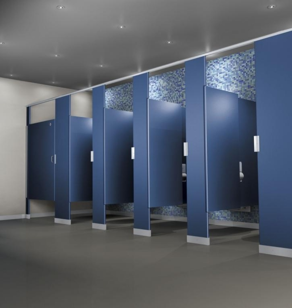 partially enclosed toilet doors