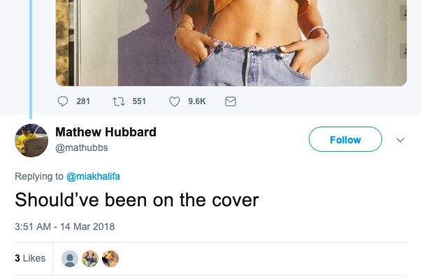 Mia Khalifa feature on Playboy Twitter reactions